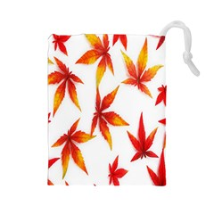 Colorful Autumn Leaves On White Background Drawstring Pouches (large)  by Simbadda