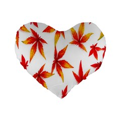 Colorful Autumn Leaves On White Background Standard 16  Premium Flano Heart Shape Cushions by Simbadda