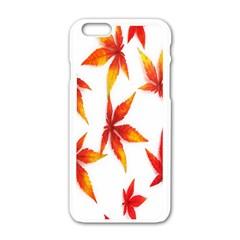 Colorful Autumn Leaves On White Background Apple Iphone 6/6s White Enamel Case by Simbadda
