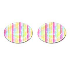 Colorful Abstract Stripes Circles And Waves Wallpaper Background Cufflinks (oval) by Simbadda