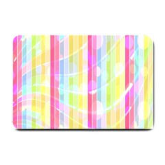 Colorful Abstract Stripes Circles And Waves Wallpaper Background Small Doormat  by Simbadda