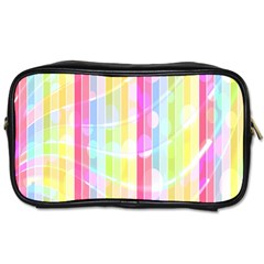 Colorful Abstract Stripes Circles And Waves Wallpaper Background Toiletries Bags by Simbadda