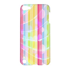 Colorful Abstract Stripes Circles And Waves Wallpaper Background Apple Ipod Touch 5 Hardshell Case by Simbadda
