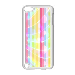 Colorful Abstract Stripes Circles And Waves Wallpaper Background Apple Ipod Touch 5 Case (white) by Simbadda