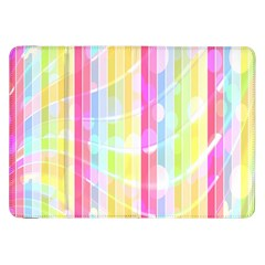 Colorful Abstract Stripes Circles And Waves Wallpaper Background Samsung Galaxy Tab 8 9  P7300 Flip Case by Simbadda
