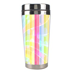 Colorful Abstract Stripes Circles And Waves Wallpaper Background Stainless Steel Travel Tumblers by Simbadda