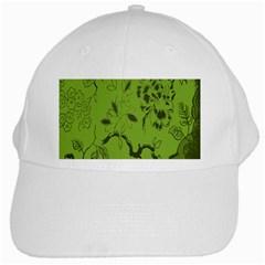 Abstract Green Background Natural Motive White Cap by Simbadda