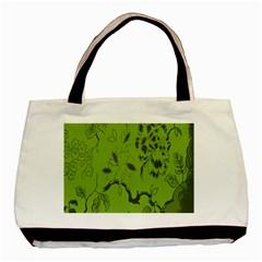 Abstract Green Background Natural Motive Basic Tote Bag by Simbadda