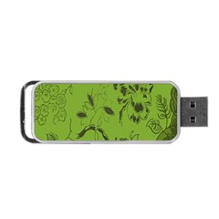 Abstract Green Background Natural Motive Portable Usb Flash (one Side) by Simbadda