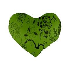 Abstract Green Background Natural Motive Standard 16  Premium Flano Heart Shape Cushions by Simbadda
