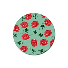 Floral Roses Wallpaper Red Pattern Background Seamless Illustration Rubber Round Coaster (4 Pack)  by Simbadda