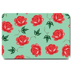 Floral Roses Wallpaper Red Pattern Background Seamless Illustration Large Doormat  by Simbadda