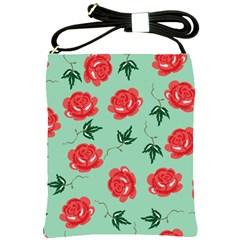 Floral Roses Wallpaper Red Pattern Background Seamless Illustration Shoulder Sling Bags by Simbadda