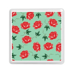 Floral Roses Wallpaper Red Pattern Background Seamless Illustration Memory Card Reader (square)  by Simbadda