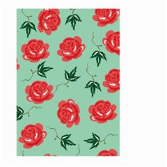 Floral Roses Wallpaper Red Pattern Background Seamless Illustration Large Garden Flag (two Sides) by Simbadda