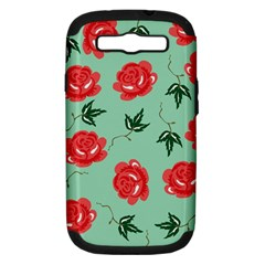 Floral Roses Wallpaper Red Pattern Background Seamless Illustration Samsung Galaxy S Iii Hardshell Case (pc+silicone) by Simbadda