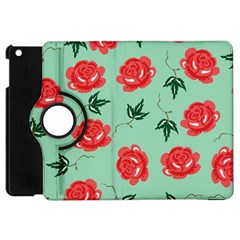 Floral Roses Wallpaper Red Pattern Background Seamless Illustration Apple Ipad Mini Flip 360 Case by Simbadda