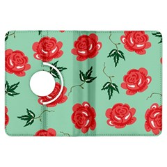 Floral Roses Wallpaper Red Pattern Background Seamless Illustration Kindle Fire Hdx Flip 360 Case by Simbadda
