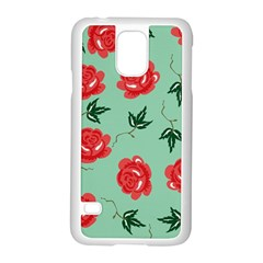 Floral Roses Wallpaper Red Pattern Background Seamless Illustration Samsung Galaxy S5 Case (white) by Simbadda