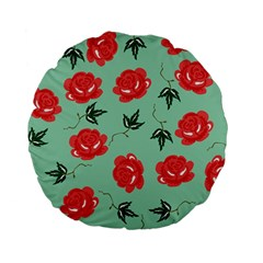 Floral Roses Wallpaper Red Pattern Background Seamless Illustration Standard 15  Premium Flano Round Cushions by Simbadda