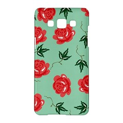 Floral Roses Wallpaper Red Pattern Background Seamless Illustration Samsung Galaxy A5 Hardshell Case  by Simbadda