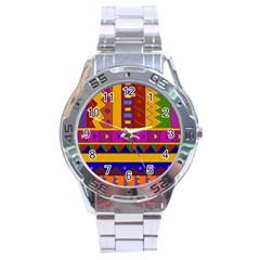 Abstract A Colorful Modern Illustration Stainless Steel Analogue Watch by Simbadda