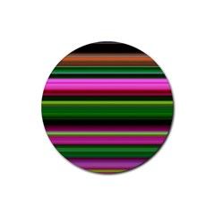 Multi Colored Stripes Background Wallpaper Rubber Coaster (round)  by Simbadda