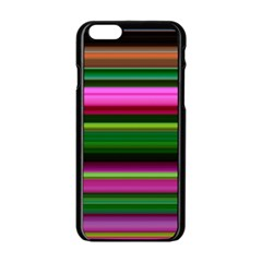 Multi Colored Stripes Background Wallpaper Apple Iphone 6/6s Black Enamel Case by Simbadda