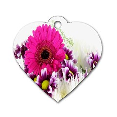 Pink Purple And White Flower Bouquet Dog Tag Heart (one Side)