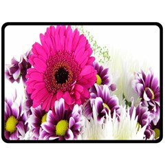 Pink Purple And White Flower Bouquet Fleece Blanket (large)  by Simbadda