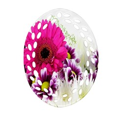 Pink Purple And White Flower Bouquet Oval Filigree Ornament (two Sides) by Simbadda