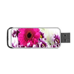 Pink Purple And White Flower Bouquet Portable Usb Flash (two Sides) by Simbadda