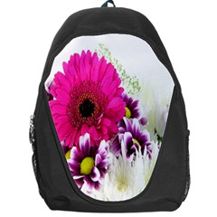 Pink Purple And White Flower Bouquet Backpack Bag by Simbadda