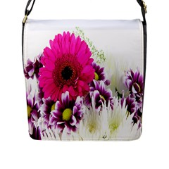 Pink Purple And White Flower Bouquet Flap Messenger Bag (l)  by Simbadda