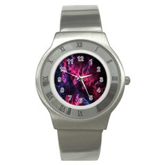 Abstract Fractal Background Wallpaper Stainless Steel Watch by Simbadda