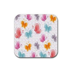 Butterfly Pattern Vector Art Wallpaper Rubber Coaster (square)  by Simbadda