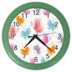 Butterfly Pattern Vector Art Wallpaper Color Wall Clocks by Simbadda