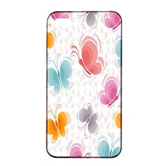 Butterfly Pattern Vector Art Wallpaper Apple Iphone 4/4s Seamless Case (black) by Simbadda