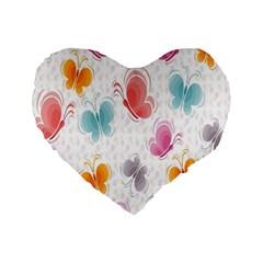 Butterfly Pattern Vector Art Wallpaper Standard 16  Premium Flano Heart Shape Cushions by Simbadda