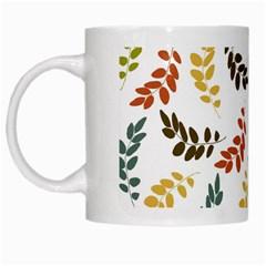 Colorful Leaves Seamless Wallpaper Pattern Background White Mugs by Simbadda