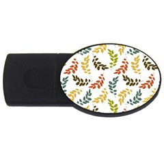 Colorful Leaves Seamless Wallpaper Pattern Background Usb Flash Drive Oval (4 Gb) by Simbadda