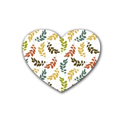 Colorful Leaves Seamless Wallpaper Pattern Background Rubber Coaster (heart)  by Simbadda