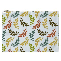 Colorful Leaves Seamless Wallpaper Pattern Background Cosmetic Bag (xxl)  by Simbadda