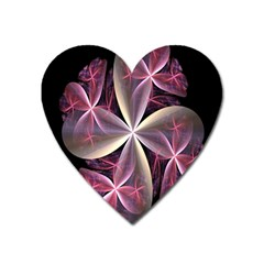Pink And Cream Fractal Image Of Flower With Kisses Heart Magnet by Simbadda