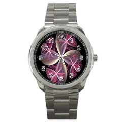 Pink And Cream Fractal Image Of Flower With Kisses Sport Metal Watch by Simbadda