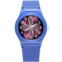 Pink And Cream Fractal Image Of Flower With Kisses Round Plastic Sport Watch (S)