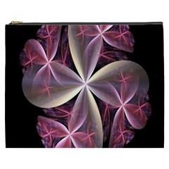 Pink And Cream Fractal Image Of Flower With Kisses Cosmetic Bag (xxxl)  by Simbadda