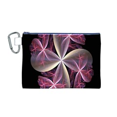 Pink And Cream Fractal Image Of Flower With Kisses Canvas Cosmetic Bag (m)
