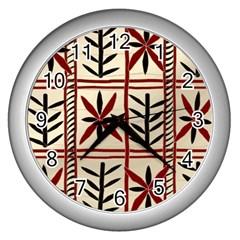 Abstract A Colorful Modern Illustration Pattern Wall Clocks (silver)  by Simbadda