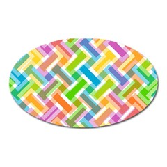 Abstract Pattern Colorful Wallpaper Background Oval Magnet by Simbadda